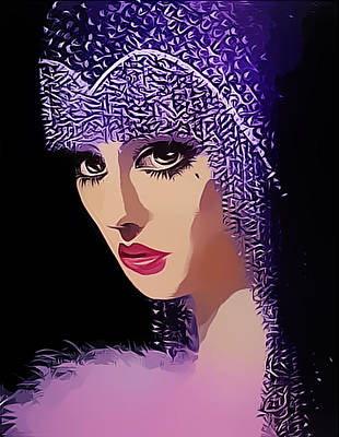 Digital Art - Flapper In Purple Hat by Chuck Staley