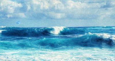 Art Emeraald Waves Art Print