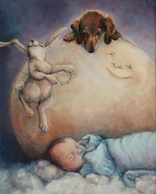 Dachshund Oil Painting - Art For Boy He Hung The Moon And Stars Just For You Too by Kim Guthrie