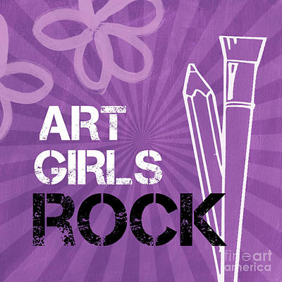 Pencil Mixed Media - Art Girls Rock by Linda Woods