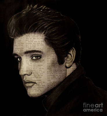 Drawing - Art In The News 113-elvis by Michael Cross