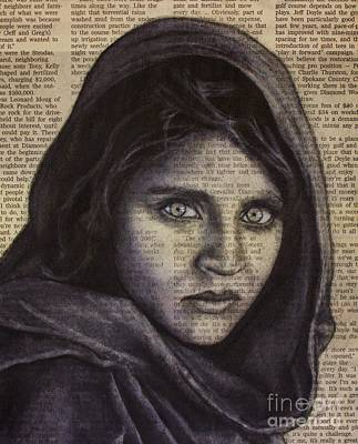 Drawing - Art In The News 64-afghan Girl by Michael Cross