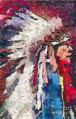 Travel - Art Indian Chief Pearlesques In Fragments  by Catherine Lott