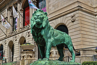 Photograph - Art Institude Of Chicago Lion - Northside # 2 by Allen Beatty