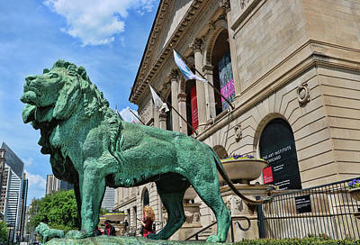 Photograph - Art Institude Of Chicago Lion - Northside by Allen Beatty