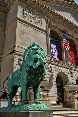 Photograph - Art Institude Of Chicago Lion - Southside # 2 by Allen Beatty