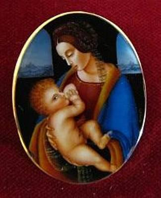 Hand Painted Pendant Jewelry - Art Jewelry-hand Painted Pendant And Brooch Mother Of Pearl Gold 18k Madonna Litta Leonardo Da Vinci by Evelina Pastilati