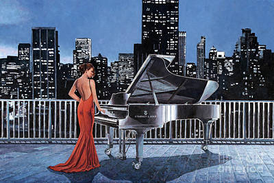 Steinway Grand Piano Wall Art - Painting - Art Noir, Pianist On The Roof by Theo Michael