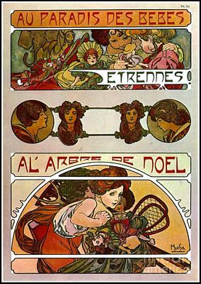Photograph - Art Nouveau Christmas Promo 1901 by Padre Art