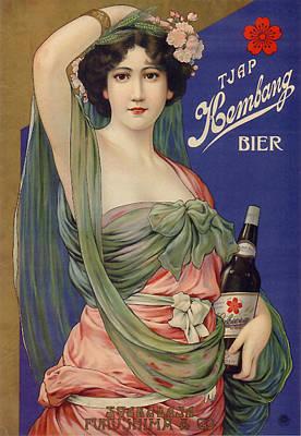Beer Drawings - Art Nouveau Era Beer Poster Japan by All Things Japan Gallery
