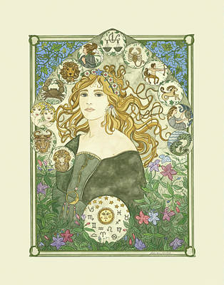 Painting - Art Nouveau Goddess Of Astrology by Dee Van Houten