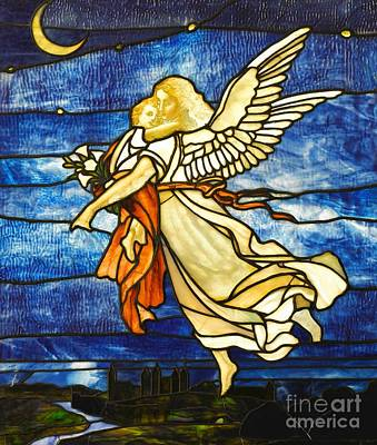 Glass Art - Art Nouveau Guardian Angel Stained Glass Circa 1895 by Peter Gumaer Ogden Collection