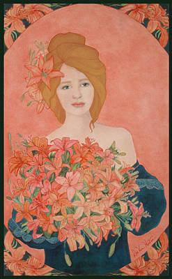 Painting - Art Nouveau Lilies by Dee Van Houten