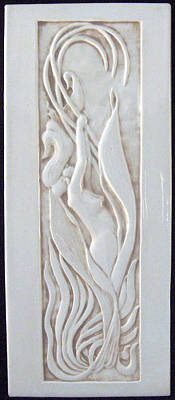 Ceramic Sculpture - Art Nouveau Lily Woman by Shannon Gresham