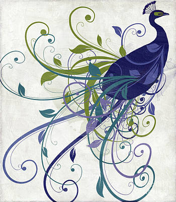 Birds Royalty-Free and Rights-Managed Images - Art Nouveau Peacock I by Mindy Sommers