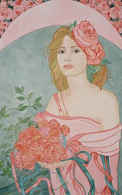 Painting - Art Nouveau Roses by Dee Van Houten