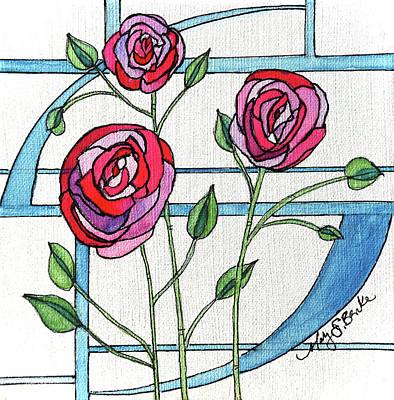 Art Nouveau Roses Original by Mary Benke