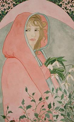 Painting - Art Nouveau Snowdrops by Dee Van Houten