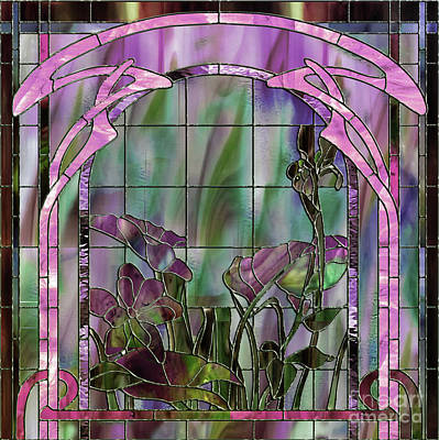 Art Nouveau Stained Glass Panel Art Print by Mindy Sommers
