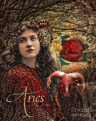 Signs Of The Zodiac Painting - Art Nouveau Zodiac Aries by Mindy Sommers
