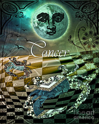 Art Nouveau Zodiac Cancer Art Print by Mindy Sommers