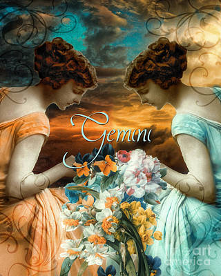 Signs Of The Zodiac Painting - Art Nouveau Zodiac Gemini by Mindy Sommers