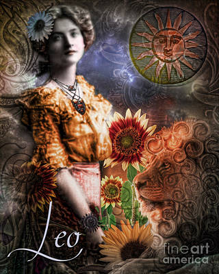 Signs Of The Zodiac Painting - Art Nouveau Zodiac Leo by Mindy Sommers