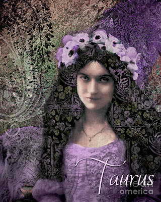 Art Nouveau Zodiac Taurus Art Print by Mindy Sommers
