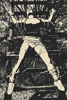 Masochism Drawing - Art Of Bondage - Girl At Ladder by Casemiro