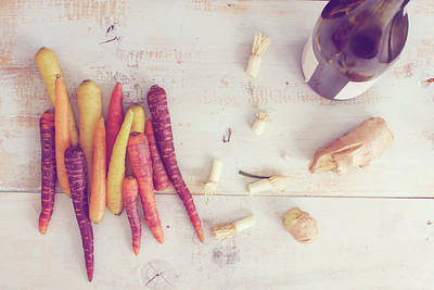 Claude Monet - Art of cooking flat lay fun fresh colorful carrots, cut roots and Red wine bottle with ginger root  by Mila Araujo