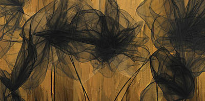 Painting - Art Of Elegance- Black And Gold Abstract- Muted Gold  by Lourry Legarde