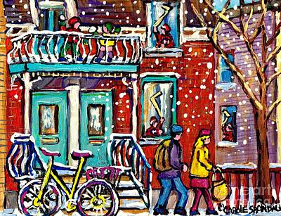 Art Of Urban Montreal Snowy Street Canadian Winter Scene Painting Carole Spandau                     Original