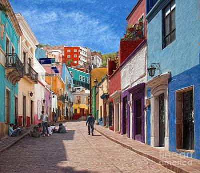 Photograph - Art Students Drawing A Street In Guanajuato by John Kolenberg