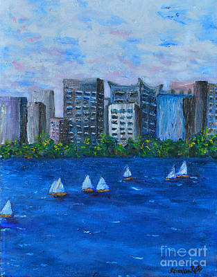 Wind Surfing Art Painting - Art Study City Water Scape  by Reina Resto