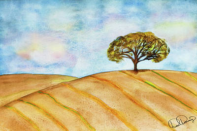 Painting - Lone Oak Tree On Rolling Hill Watercolor Painting by Dee Browning
