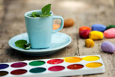 Photograph - Art Workshop With Watercolor And Crayons. Fragrant Tea With Mint. by Yana Shonbina