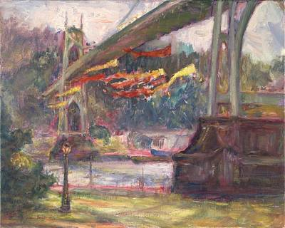 Painting - Artful Activism, St Johns Bridge, Original Contemporary Impressionist Oil Painting by Quin Sweetman