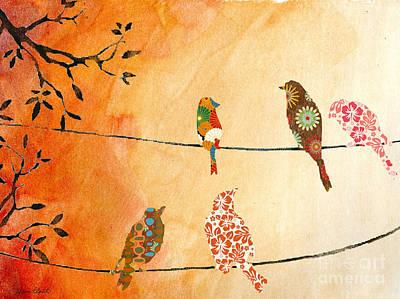 Artful Birds On Wires Original