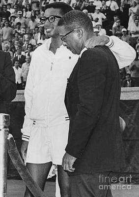Ashe Photograph - Arthur Ashe And His Father Celebrate Win At First U.s. Open In Forest Hills. 1968 by William Jacobellis