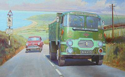 Painting - Arthur Drucket's Tipper On Porlock Hill. by Mike Jeffries