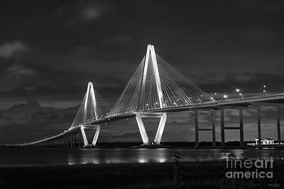 Photograph - Arthur Ravenel At Night Grayscale by Jennifer White