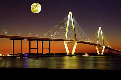 Arthur Ravenel Bridge At Night Art Print
