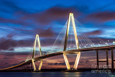 Arthur Ravenel Bridge At Night Art Print