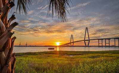 Photograph - Arthur Ravenel Jr. Bridge And Cooper River At Sunset by Donnie Whitaker