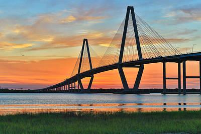 Arthur Ravenel Jr. Bridge At Dusk - Charleston Sc Art Print