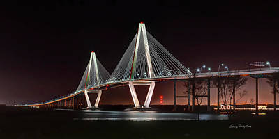 Arthur Ravenel Jr. Bridge At Midnight Art Print by George Randy Bass