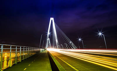Photograph - Arthur Ravenel Jr. Bridge Car Lights by Donnie Whitaker