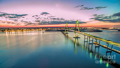 Photograph - Arthur Ravenel Jr. Bridge Light Trails by Robert Loe