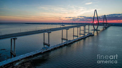 Photograph - Arthur Ravenel Jr. Bridge Sunset by Robert Loe