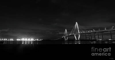 Photograph - Arthur Ravenel Night Pano Grayscale by Jennifer White